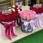 Шляпная коробка 15 роз любимой мамочке