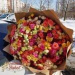 101 разноцветная кустовая роза