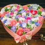 Коробка в виде сердце из микс цветов